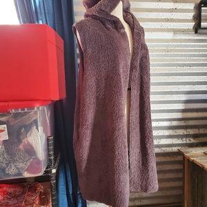 Faux Fur Open Front Hooded Vest Plus Size